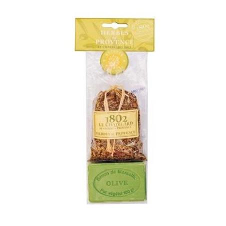 Sapun masline exfoliant 100g si saculet ierburi de Provence 40g