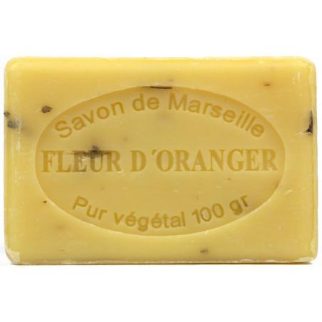 Sapun natural de Marsilia cu FLORI de PORTOCAL, exfoliant, 100g / savon de Marseille fleur d'oranger