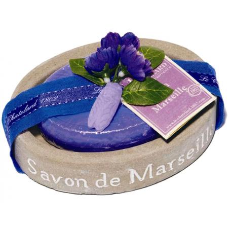 Set cadou savoniera ovala masiva si sapun de Marsilia 100g