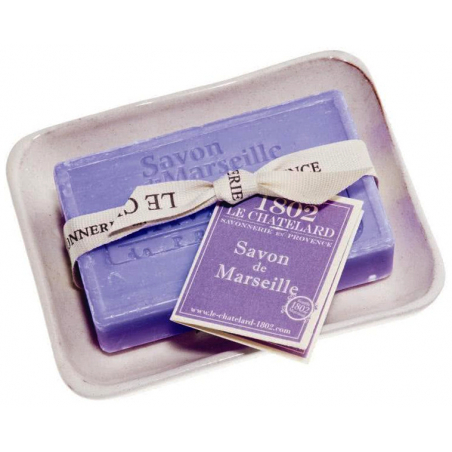 Set cadou savoniera forma clasica si sapun de Marsilia 100g