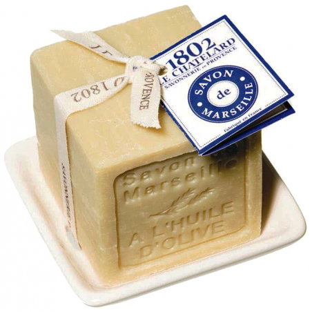 Set cadou savoniera si sapun de Marsilia cubic 300g
