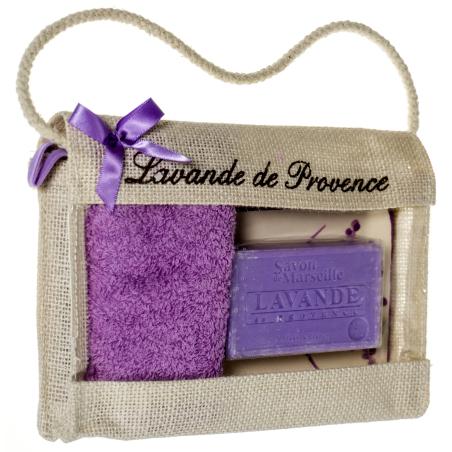 Set cadou poseta de iuta cu sapun de Marsilia 100g, savoniera ceramica si prosop mic
