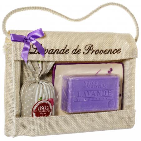 Poseta de iuta cu sapun de Marsilia 100g, savoniera ceramica si saculet cu lavanda 18g