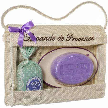 Poseta de iuta cu sapun de Marsilia oval 100g, savoniera ceramica si saculet flori lavanda 18g