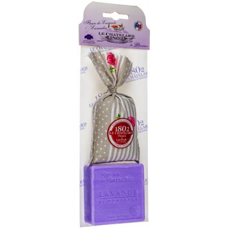 Set cadou sapun de Marsilia 100g si saculet cu flori de lavanda 18g