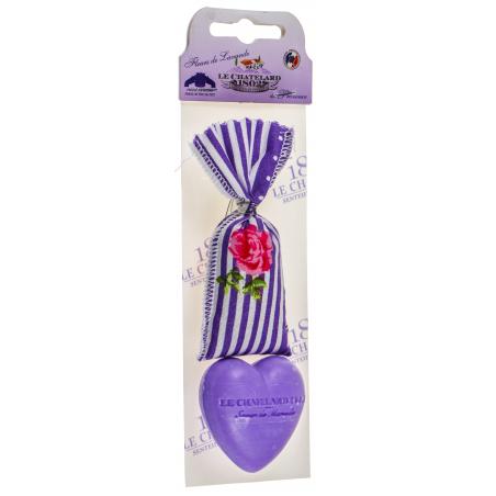 Set cadou cu sapun de Marsilia 25g forma inimioara si saculet cu flori de lavanda 7g