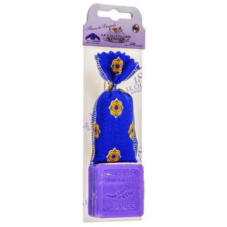Set cadou cu sapun de Marsilia cu lavanda 30g si saculet cu flori de lavanda 7g