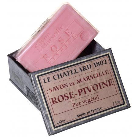 Set cadou cu sapun natural de Marsilia 100g in cutie metalica galvanizata