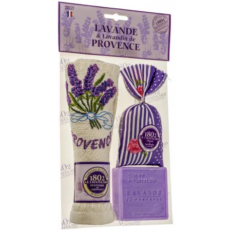 Set cadou sapun de Marsilia cu lavanda 100g, prosop brodat si saculet cu flori de lavanda 18g