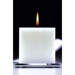 Set Cadou Lumanare Decorativa cu Suport Otel Inox Amabiente Kubus 16401 White Weiss