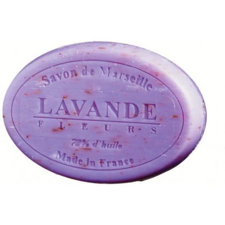 Sapun natural de Marsilia cu LAVANDA exfoliant, 100g oval / savon de Marseille lavande fleurs